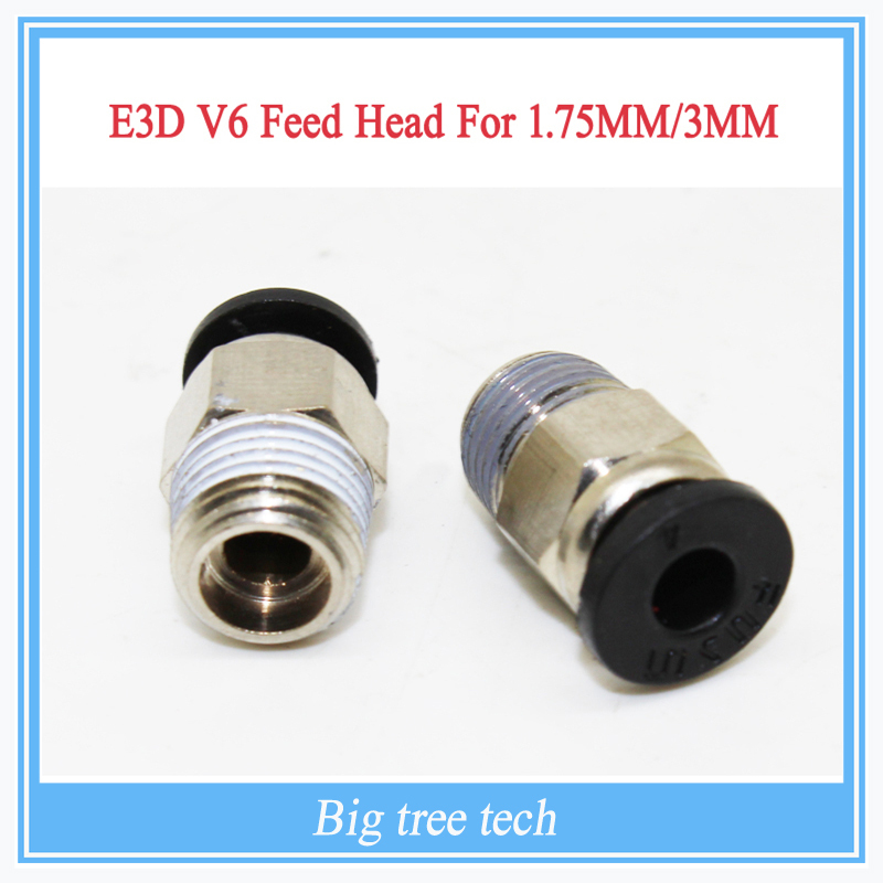 3D Printer E3D V6 J-head Pneumatic Connectors PC4-01 1.75mm PTFE Tube quick coupler, j-head Fittings Reprap Hotend Fit(China (Mainland))