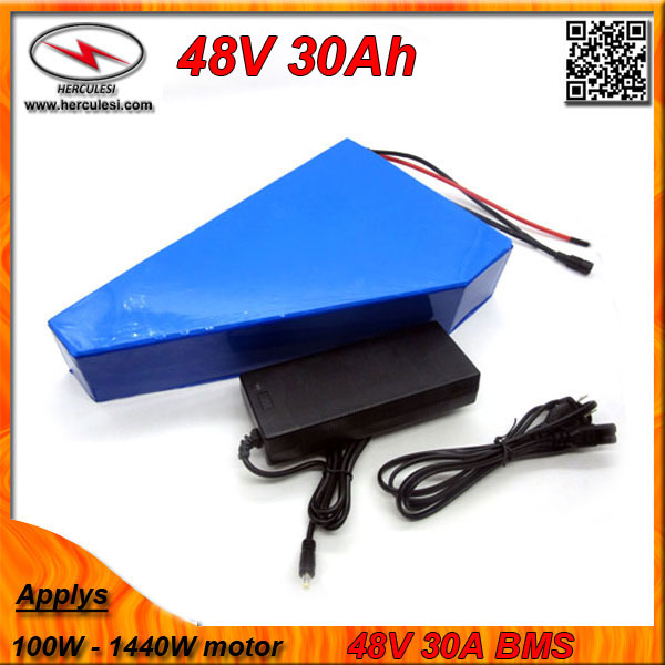 Triangle shape 1000W Electric Bicycle Battery 48V 30Ah with battery bag built in Samsung cell 30A BMS + 2A Charger FREE SHIPPING(China (Mainland))