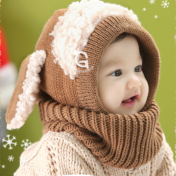 Hot Sales Winter Toddler Kids Girls Boys Warm Woolen Coif Hood Scarf Scarves Caps Hats(China (Mainland))