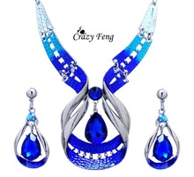 Free Shipping Enamel Charm Party Jewelry Sets 18K Platinum Plated Pendant Necklace Earrings Jewelry Sets Women Lattest Gift(China (Mainland))