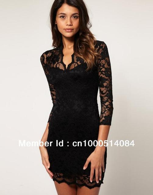 New with Tag Women Lace Dress Scalloped V-Neck Ladies Sexy Slim 3/4 Sleeve Cocktail Dress UK Size 8 10 12