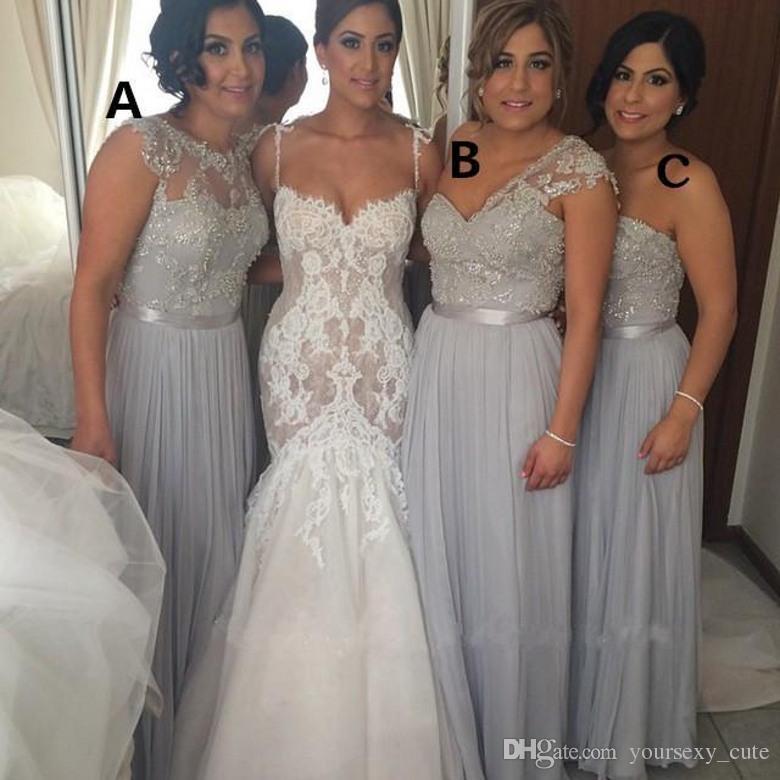 Hot 2015 silver chiffon long bridesmaid dresses cheap a for Silver beaded wedding dress