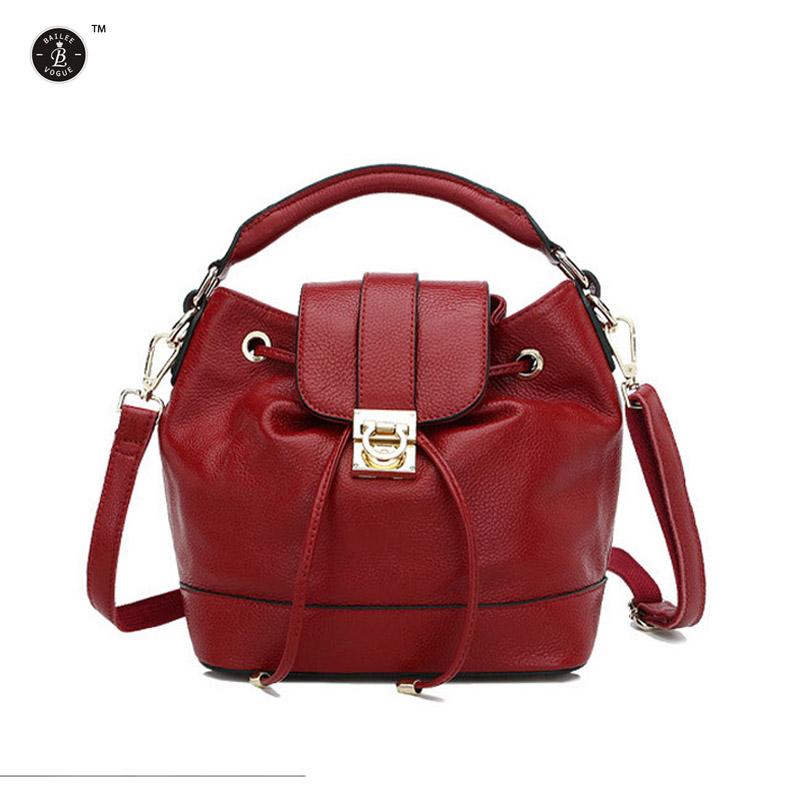 Woman Bags 2015 Bag Handbag Fashion Handbags Genuine Leather Bucket Bags European Designer Small Messenger Bags Black Blue Rose<br><br>Aliexpress