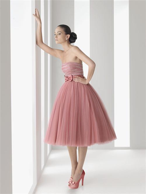 Popular Pink Tea Length Dresses-Buy Cheap Pink Tea Length Dresses ...