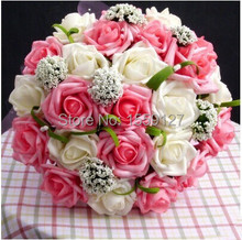 Cheap 2016 Wedding Accessories Bridal Bouquet Pink Red Purple Artificial Wedding Flowers Buque De Noiva High Quality 3302(China (Mainland))
