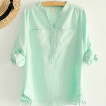 white pleated blouse ladies office shirts long sleeve linen shirt womens tops fashion 2015 autumn cotton woman clothes plus size(China (Mainland))