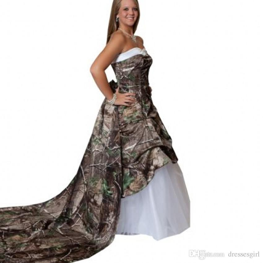 White Wedding Dresses With Camo : Sweetheart white new camo wedding dresses a line floor length