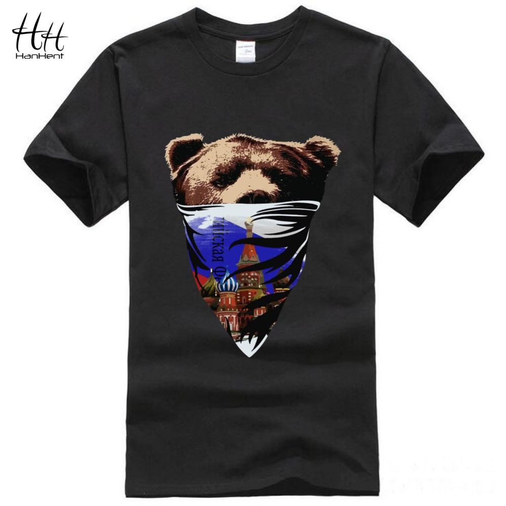 HanHent Russia Style Moscow Brown Bear Printing T-shirt Men 2016 Summer New Arrival Cotton 3D Print Tshirts Homme Boys Top Tees(China (Mainland))