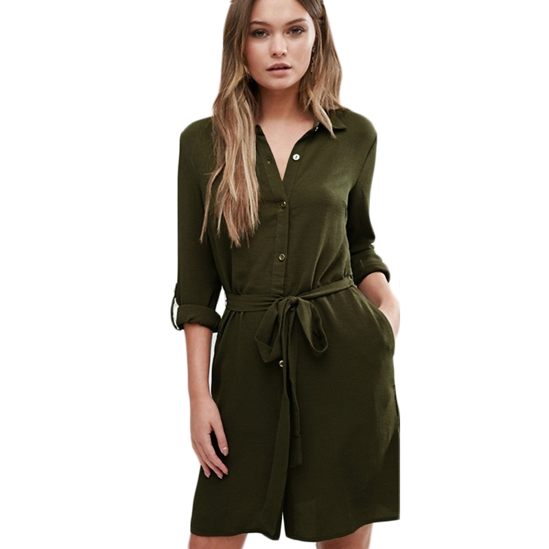 Vintage Dresses Casual Roll Sleeve Bags Single Plates Shirt Dresses Ladies Lipsy Belted Shirt Dress Summer Spring Wear Vestidos(China (Mainland))