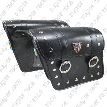 New Black Motorcycle Motorbike High Quality PU Leather Saddle Bags Side Bags With Metal Cheetah