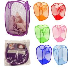 New Qualified New Foldable Pop Up Washing Clothes Laundry Basket Bag Hamper Mesh Storage Levert Dropship dig634(China (Mainland))