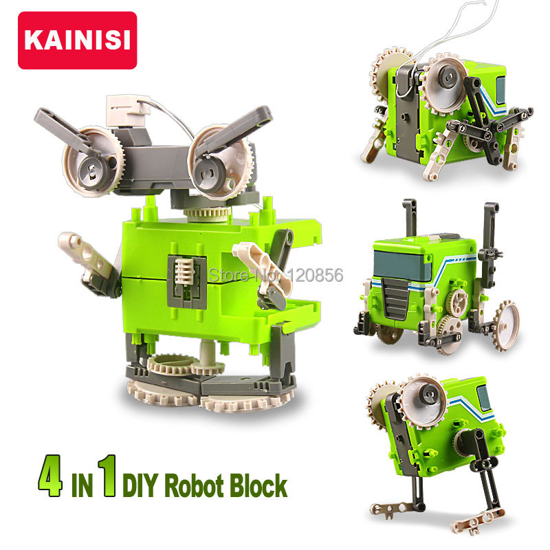 4 IN 1 DIY Electronic Building Blocks Self assembled Robot Car Cricket Beast Education transformable boy gift puzzle Toys(China (Mainland))