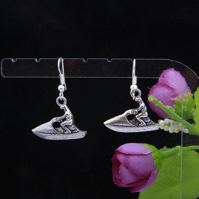 Hot Fashion Jewelry 50 Pair Retro Silver Shamballa Motorboat Charm Pendant Drape Earring Hoop DIY For Women Top Quality F861(China (Mainland))
