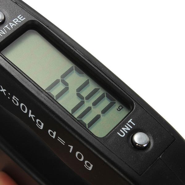 Durable Pocket Portable 50kg 10g LCD Digital Electronic Hand Held Hook Belt Luggage Hanging Scale Backlight