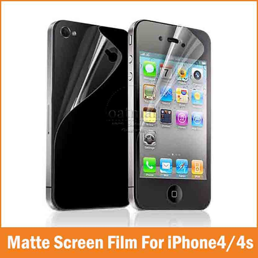 2PC = 1 Front + 1 Back for Apple iPhone 4 4S Screen Protector Film Transparent Matte Clear HD Full body Protection Accessories(China (Mainland))