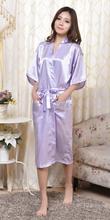 Brand Long Robe Emulation Silk Soft Home Bathrobe Plus Size S-XXXL Nightgown For Women Kimono Robes Autunm Spring Winter Summer(China (Mainland))
