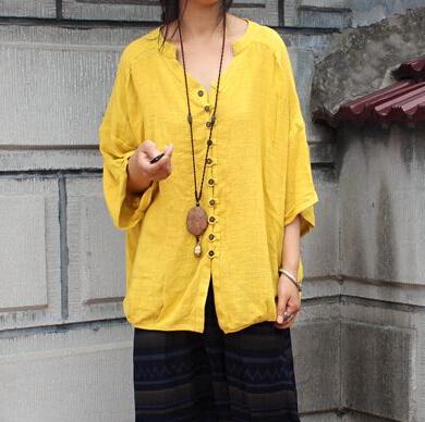 Linen Cotton Womens Clothes Women 2015 New Original Cotton Linen Loose Blouse Plus Size Soild Bat Sleeve Women Shirt(China (Mainland))