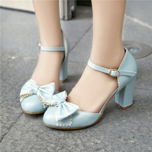 2015 Autumn Spring Lolita Bowtie Womens Mary Jane Block High Heel Pumps Round Toe Buckle Ankle Strap Shoes Party Plus Size