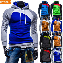 2015 New Leisure Men's Hoodies Patchwork Colors Napping Fashion Men's Tracksuits Sweatshirts Hooded Men Coats 9 colors HS770(China (Mainland))