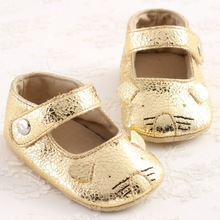 New PU Leather Cartoon Newborn Baby Blingbling Light Gold Footwear Princess Girls Ballet Mary Jane Soft Bottom Anti-slip Shoes(China (Mainland))