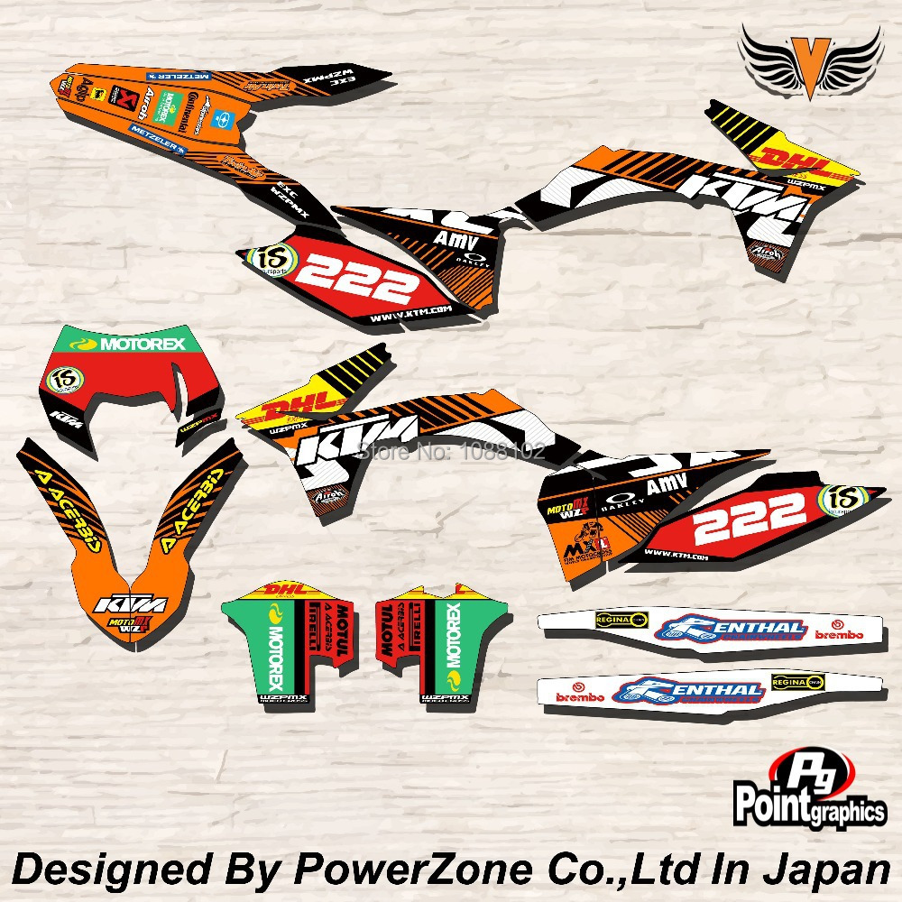 Top Quality Team Graphics & Backgrounds Decals 3M Stickers Kits For KTM SX SXF EXC 125 250 450 525 1998-2014 Free Shpping