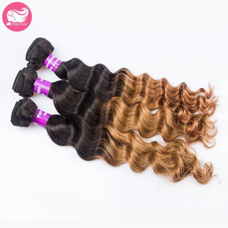 3Pcs Lot Brazilian Ombre Hair Свободная волна Weaving 7A Unprocessed Two Tone Brazilian Hair Bundles 1B/30 Ombre Human Hair Extension