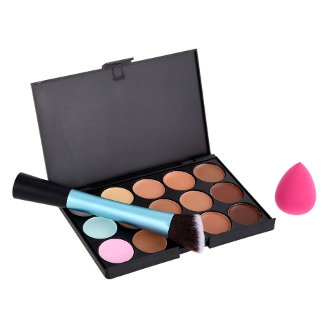 Free Shipping 15 Concealer + Angled Brush + Sponge Puff (Blue)G#J6<br><br>Aliexpress