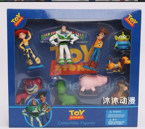 Free Shipping Toy Story Buzz lightyear Woody Jessie PVC Action Figure Toys with box 5-12cm 9pcs/set(China (Mainland))