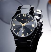Cool Lovers Black Ceramic Dress Watch Japan Quartz Business Calendar Wristwatch Couples Roman Analog Clock Crystals Reloj NW2891(China (Mainland))