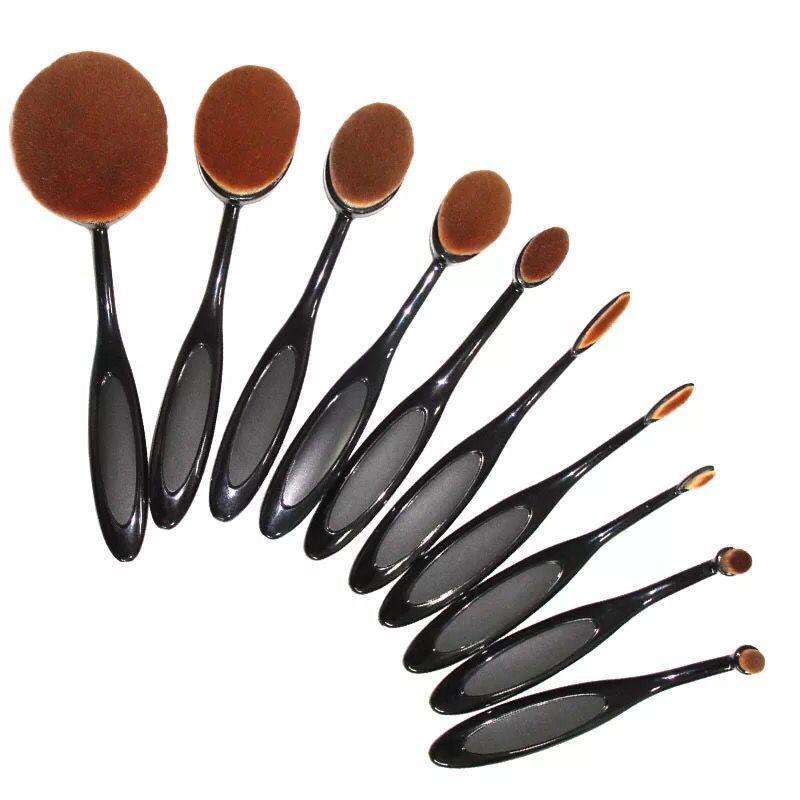 high quality professional cosmetics 10pcs/set Toothbrush Shape Makeup Brush kits women Foundation Powder oval makeup brush(China (Mainland))