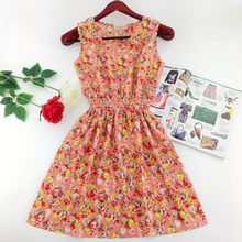 2016 spring summer new Korean Women casual Bohemian floral sleeveless vest printed beach chiffon dress vestidos WC344-2(China (Mainland))