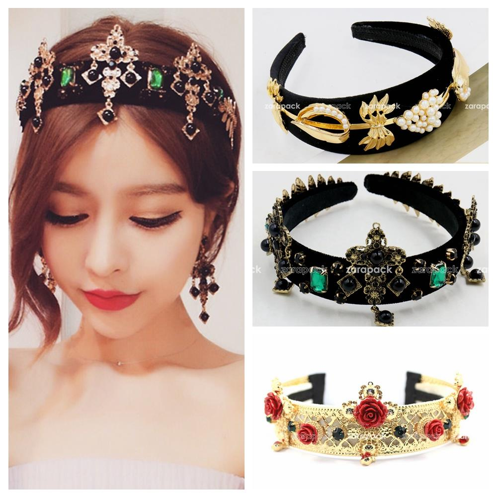 Designer Luxury Baroque Style Gold Tone Pearl flower Cross Wide Hair Bands Head Wrap Headband Wedding Jewelry Celebrity love(China (Mainland))