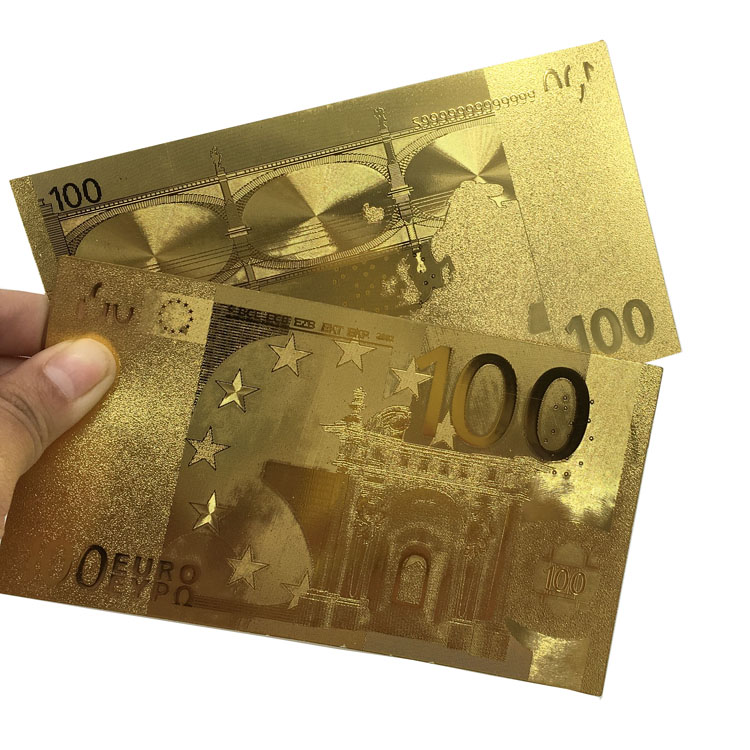 Extremely Rare EURO Banknote 100 EURO Pure 24k .999 Clad Gold Nice Gift For Business or Collection(China (Mainland))