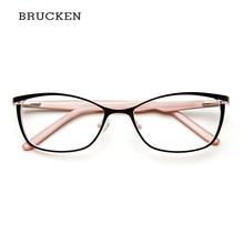 Металлическая оправа для очков, женские брендовые дизайнерские винтажные очки с кошачьим глазом, очки розового цвета, полные очки для близо...(China)