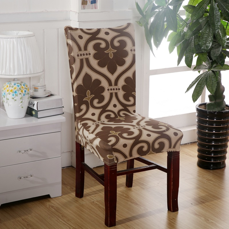 Brown Chair Covers Cheap Jacquard Stretch Chair Covers For Dining Room Decoration Short Half Machine Washable V43(China (Mainland))