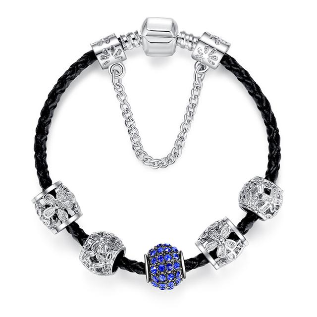 Европейский стиль марки кожаные браслеты и для женщин с кристалл бусины браслеты ...