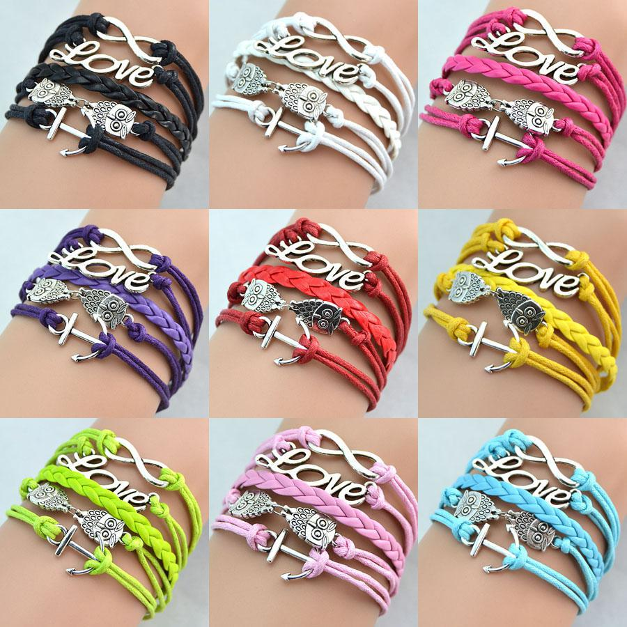 Infinity Antique Charm Love Owl Anchor Charms leather bracelet Mix Colors Leather Bracelets Wraps - luckyqing111 store