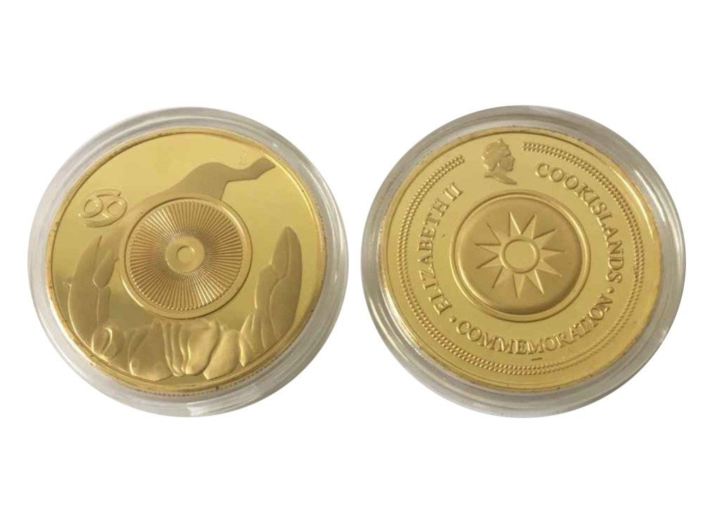 Zodiac Cancer Crab Astrology Coin Horoscope Gold Plated Souvenir Unique & New(China (Mainland))