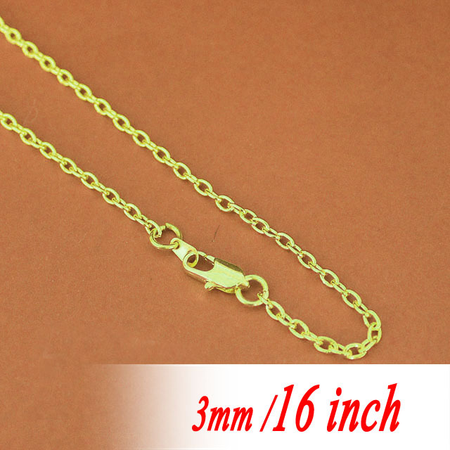"Здесь можно купить  16"" Bulk With Square Clasps Connectors For Metal Necklace Chaines Pendants 3mm Fashion Jewellery Cable Links Findings Gold Tone 16"" Bulk With Square Clasps Connectors For Metal Necklace Chaines Pendants 3mm Fashion Jewellery Cable Links Findings Gold Tone Ювелирные изделия и часы"