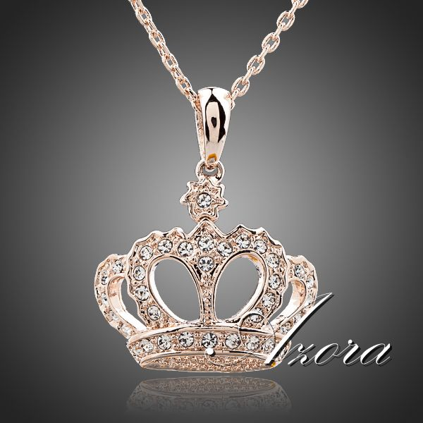 AZORA Queen s Crown 18K Rose Gold Plated Stellux Austrian Crystal Jewelry Pendant Necklace TN0095