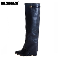 Buy Women Wedge Boots Pointed Toe Knee Boot Sexy Shoes Woman Brand Ladies Fashion Boots Heeled Botas Footwear Size 35-46 B209 for $93.83 in AliExpress store