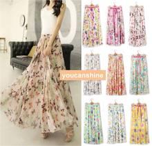 2015 Fashion New Casual Summer Bohemia Womens Pleated Boho Floral Print Beach Maxi Flower 2 Layer Elastic Waist Full Long Skirt(China (Mainland))