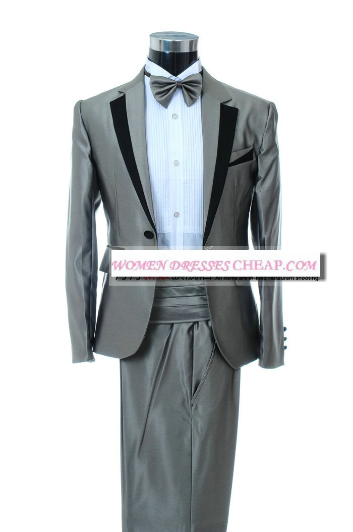 Gray men suits wedding suits groom dress men 39 s cocktail for Gray dresses to wear to a wedding