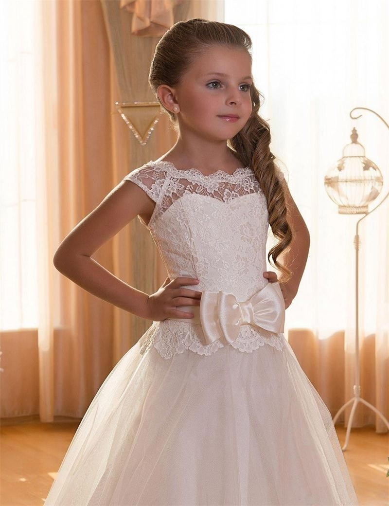 First Communion Dresses For Girls Scoop Backless Appliques