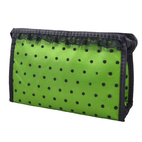 UESH! Black Lady Zippered Lace Dotted Mesh Rectangular Cosmetic Bag Pouch Organizer(China (Mainland))