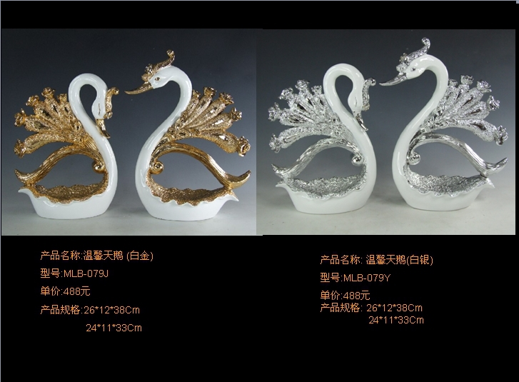 Creative pastoral style villa upscale furnishings plated swan couple auspicious ornaments wedding gift ideas
