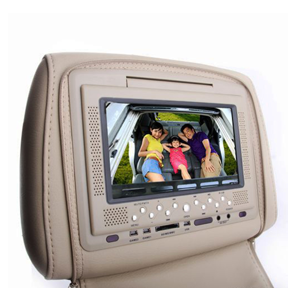 7 Inch TFT LCD Car display headrest monitor DVD Player Speaker With AUX SD Games Remote IR Control auto electronics HD Monitor(China (Mainland))
