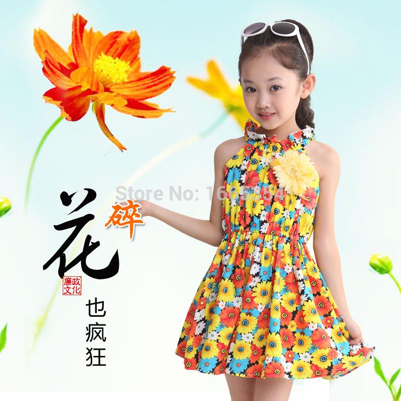 2015 New Hot Summer Children Clothing,Girls Floral Print Dress,4-14Y girl dress Cute Sleeveless casual