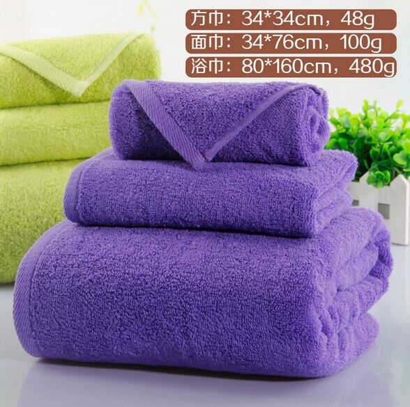 Free shipping, 100% cotton towel sets thickening bath towel 80 * 160cm, 34 * 76cm adult face towel, 34 * 34cm Children towel(China (Mainland))