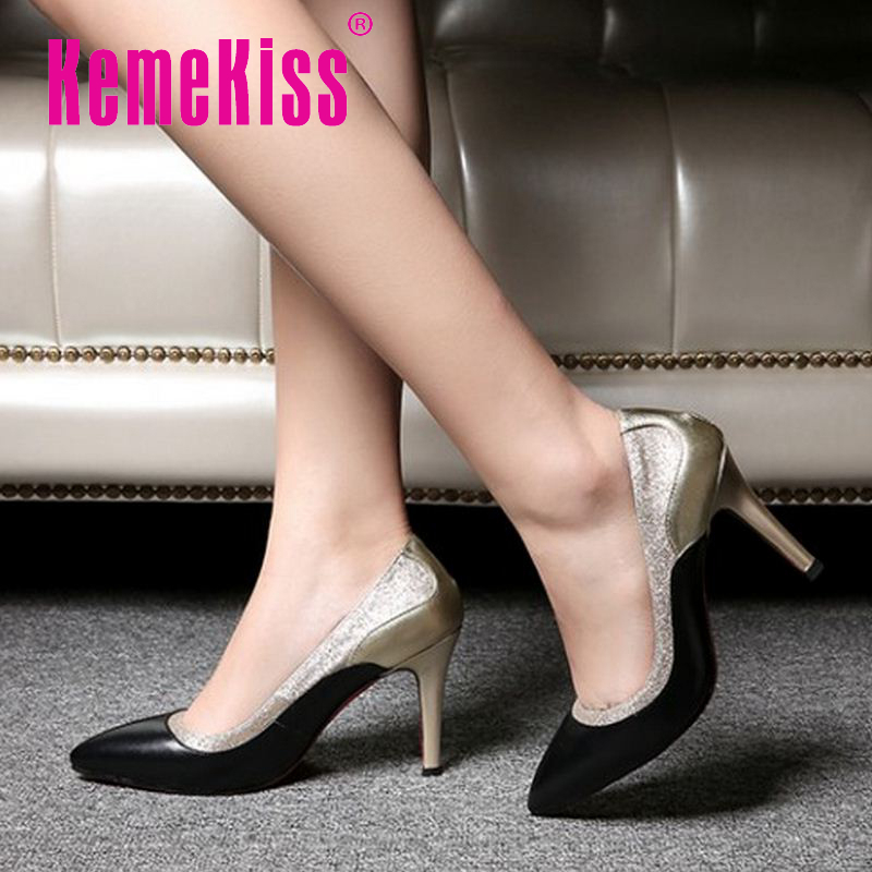 women real genuine leather red bottom high heel shoes brand office lady sexy heels fashion pumps heeled shoes size 34-39 R08498<br><br>Aliexpress